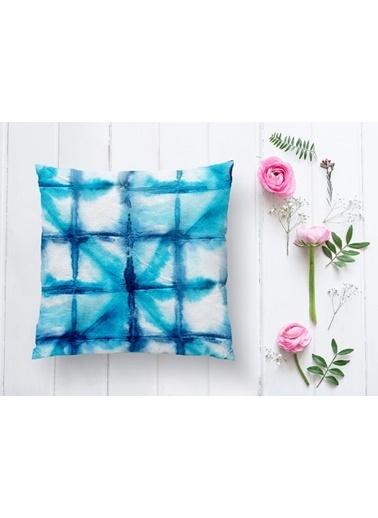 Real Homes Mavi Sulu Boya Desenli Dijital Baskılı Modern Yastık Kılıfı Renkli